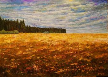 Alpine field, Paintings, Impressionism, Landscape, Acrylic,Canvas, By slobodan paunovic