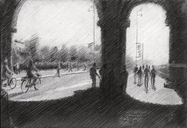 Amsterdam – Rijksmuseum -<br>27-04-19, Drawings / Sketch, Fine Art,Impressionism,Realism, Architecture,Cityscape,Composition,Figurative,Inspirational,Landscape,People, Pencil, By Corne Akkers