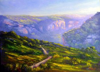 An afternoon at Pierces Pass,<br>Blue mountains, Paintings, Fine Art,Impressionism,Realism, Landscape, Oil, By Christopher Vidal
