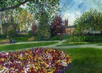 An Afternoon in the Park, Paintings, Impressionism,Realism, Botanical,Floral,Landscape, Canvas,Painting, By Matthew Evans