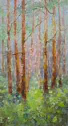 AN APRIL DAY IN WOODS original<br>landscape painting, Paintings, Expressionism,Fine Art,Impressionism,Modernism, Land Art,Landscape, Canvas,Oil, By Emilia Milcheva
