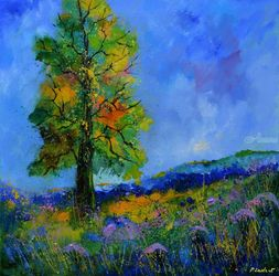 An oak in summer, Paintings, Impressionism, Botanical, Canvas, By Pol Ledent