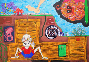 An unusual picture with<br>unneeded details, outsider<br>work and story, Folk Art,Illustration,Paintings, Fine Art,Primitive,Satire, Art Brut,Fantasy,Humor, Acrylic,Painting, By Kost Koža outsider art and stories
