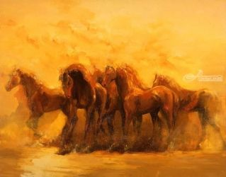 Andalucia, Paintings, Expressionism, Animals, Canvas,Oil, By Zil Hoque