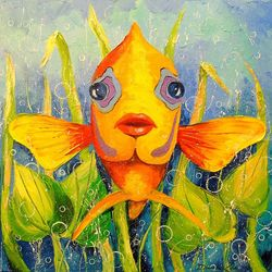 Angel fish, Paintings, Impressionism, Animals,Nature, Canvas,Oil,Painting, By Olha   Darchuk
