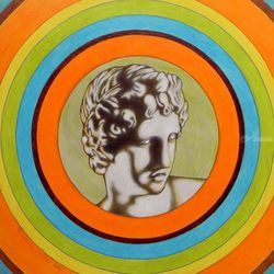 Apollo alla Galleria degli<br>Uffizi, Graphic,Illustration,Paintings, Expressionism,Fine Art,Pop Art, Figurative,Mythical,Portrait, Oil,Painting, By federico cortese