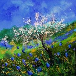 Apple tree in blossom, Architecture,Decorative Arts,Drawings / Sketch,Paintings, Impressionism, Landscape,Nature, Canvas, By Pol Ledent