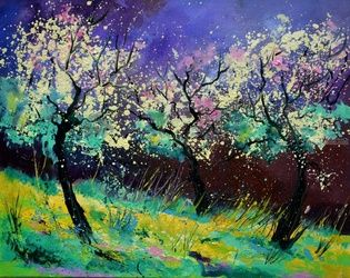 Apple trees 567130, Architecture,Decorative Arts,Drawings / Sketch,Paintings, Expressionism, Decorative, Canvas, By Pol Ledent