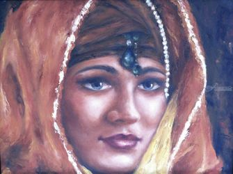 Arabian, Paintings, Fine Art,Photorealism,Realism, Portrait, Canvas,Oil,Painting, By Abha Neotia