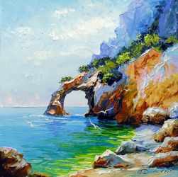 Arch of happiness by the sea, Paintings, Impressionism, Botanical,Landscape,Nature,Seascape, Canvas,Oil,Painting, By Olha   Darchuk