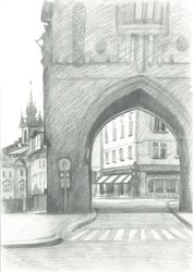 Arch of the Powder gate, Graphic, Fine Art,Impressionism,Realism, Architecture, Pencil, By Ivan Klymenko