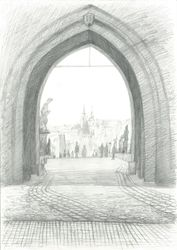 Arch, Old Town Bridge Tower,<br>Prague, Graphic, Fine Art,Impressionism,Realism, Architecture, Pencil, By Ivan Klymenko