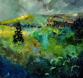 Ardennes 8841, Architecture,Decorative Arts,Drawings / Sketch,Paintings, Expressionism, Landscape, Canvas, By Pol Ledent