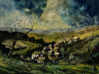 Ardennes 9751, Architecture,Decorative Arts,Drawings / Sketch,Paintings, Abstract,Impressionism, Landscape, Canvas, By Pol Ledent