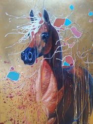 Art Nouveau Party Horse, Paintings, Abstract,Expressionism,Fine Art,Modernism,Realism, Animals,Decorative,Nature,Wildlife, Oil, By Gill Bustamante