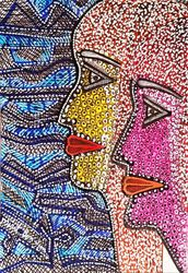 Artwork israeli modern<br>painters drawing couple by<br>Mirit Ben-Nun, Drawings / Sketch, Expressionism, Fantasy, Ink, By Mirit Ben-Nun