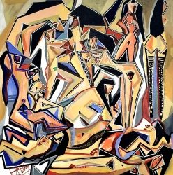 Asian Jazz, Paintings, Abstract,Cubism,Expressionism,Fine Art, Anatomy,Erotic,Figurative,Nudes, Acrylic,Canvas,Painting, By Ben Mosley