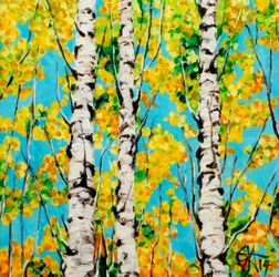 Aspen Gold Autumn Trees Rocky<br>Mountains Jackie Carpenter, Paintings, Expressionism, Nature, Acrylic, By Jackie Carpenter