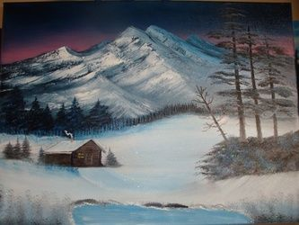 At Home in my cabin, Paintings, Fine Art, Landscape, Canvas,Oil,Painting, By Lana Fultz