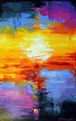 At sunset, Paintings, Abstract,Existentialism,Impressionism, Analytical art,Fantasy,Landscape, Canvas,Oil,Painting, By Olha   Darchuk
