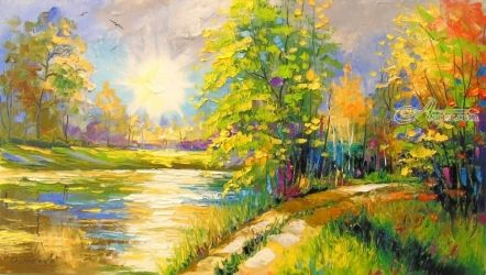 At sunset by the river, Paintings, Fine Art,Impressionism, Landscape, Canvas,Oil,Painting, By Olha   Darchuk