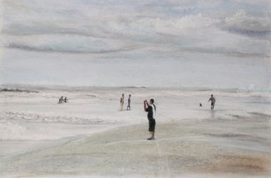 At the Beach, Pastel, Impressionism, Seascape, Pastel, By Nick Mitchell