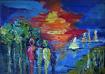 at the lake, Paintings, Expressionism, Figurative,Landscape,Seascape, Acrylic, By irma engelbrecht
