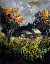 autumn 455111, Architecture,Decorative Arts,Drawings / Sketch,Paintings, Impressionism, Botanical, Canvas, By Pol Ledent