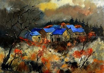 Autumn 5785, Architecture,Decorative Arts,Drawings / Sketch,Paintings, Expressionism, Botanical, Canvas, By Pol Ledent