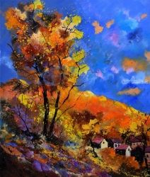 autumn 675101, Architecture,Decorative Arts,Drawings / Sketch,Paintings, Expressionism, Landscape, Canvas, By Pol Ledent