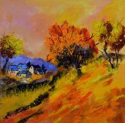 Autumn 88, Architecture,Decorative Arts,Drawings / Sketch,Paintings, Expressionism, Landscape, Canvas, By Pol Ledent
