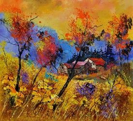 Autumn 884101, Architecture,Decorative Arts,Drawings / Sketch,Paintings, Expressionism, Landscape, Canvas, By Pol Ledent