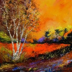 Autumn 8851, Architecture,Decorative Arts,Drawings / Sketch,Paintings, Expressionism, Decorative, Canvas, By Pol Ledent