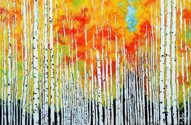 Autumn Aspen Trees Rocky<br>Mountains Grove, Paintings, Expressionism, Land Art, Acrylic, By Jackie Carpenter