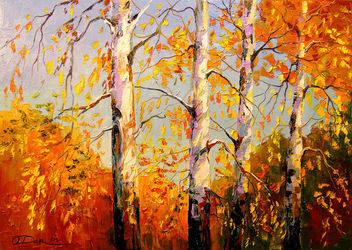 Autumn birch, Paintings, Impressionism, Botanical,Landscape,Nature, Canvas,Oil,Painting, By Olha   Darchuk
