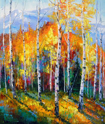 Autumn birches on the edge, Paintings, Expressionism,Fine Art,Impressionism, Botanical,Land Art,Landscape,Nature, Canvas,Oil,Painting, By Olha   Darchuk