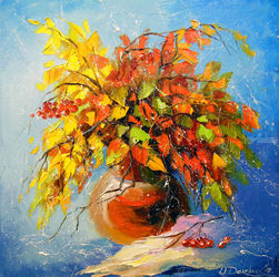 Autumn bouquet, Paintings, Expressionism,Impressionism, Botanical,Floral,Nature, Canvas,Oil,Painting, By Olha   Darchuk