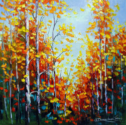 Autumn breath of birches, Paintings, Existentialism,Fine Art,Impressionism, Botanical,Land Art,Landscape,Nature, Canvas,Oil,Painting, By Olha   Darchuk