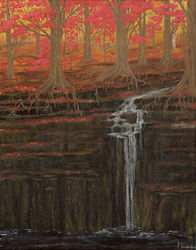 Autumn Falls, Paintings, Fine Art, Landscape, Acrylic, By Kelsey VandenHoek