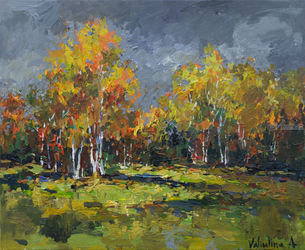 Autumn Forest Edge, Paintings, Impressionism, Landscape, Acrylic, By Anastasiya Valiulina