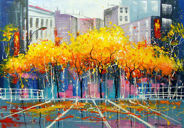 Autumn in Chicago, Paintings, Expressionism,Impressionism, Architecture,Cityscape, Canvas,Oil,Painting, By Olha   Darchuk