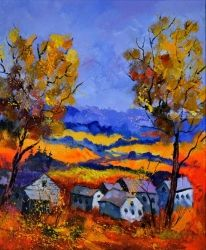 Autumn in Ouroy 6771, Architecture,Decorative Arts,Drawings / Sketch,Paintings, Expressionism, Landscape, Canvas, By Pol Ledent