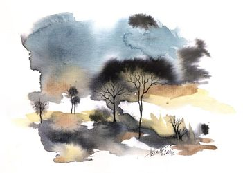 Autumn landscape, Paintings, Abstract,Expressionism, Landscape, Ink,Watercolor, By Aniko Hencz