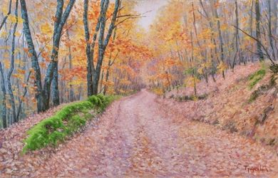 Autumn Leaves, Paintings, Fine Art,Impressionism,Realism, Landscape,Nature, Oil, By Dejan Trajkovic