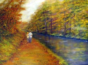 Autumn on the Towpath, Paintings, Fine Art,Impressionism,Realism, Landscape, Oil, By Loretta Luglio