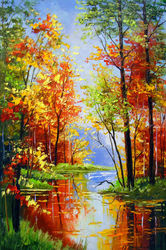 Autumn pond, Paintings, Fine Art,Impressionism, Botanical,Landscape,Nature,Wildlife, Canvas,Oil,Painting, By Olha   Darchuk