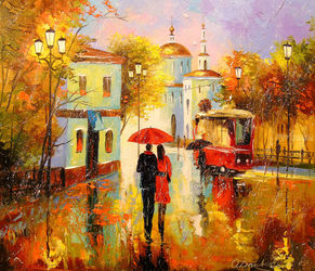 Autumn rain in the city of<br>love, Paintings, Impressionism, Architecture,Cityscape,Landscape,People, Canvas,Oil,Painting, By Olha   Darchuk