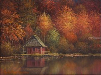 Autumn Retreat, Paintings, Fine Art, Landscape, Oil, By Sean Conlon