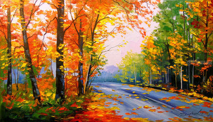 Autumn road, Paintings, Fine Art,Impressionism, Inspirational,Nature,Wildlife, Canvas,Oil,Painting, By Olha   Darchuk