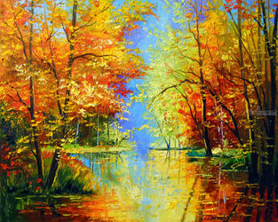 Autumn silence, Paintings, Impressionism, Botanical,Landscape,Wildlife, Canvas,Oil,Painting, By Olha   Darchuk